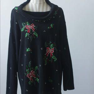 "VINTAGE ""V J Woman"" Christmas Tunic Sweater"